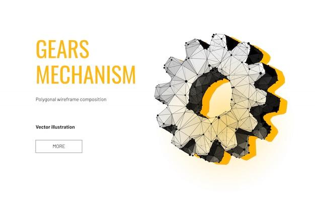 Gear mechanism in polygonal wireframe style