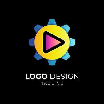 Gear and media play logo
