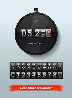 Gear number counter template with all digits