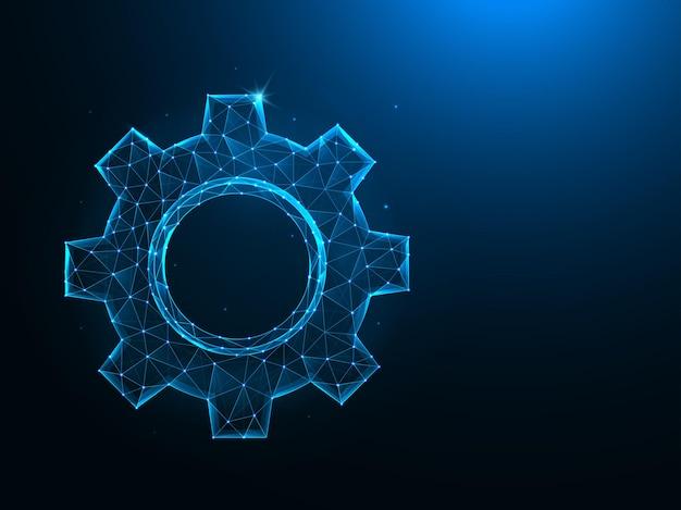 기어 또는 톱니 바퀴 저 폴리 아트. 파란색 배경에 설정 또는 옵션 다각형 그림.