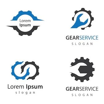 Дизайн иллюстрации логотипов службы gear service