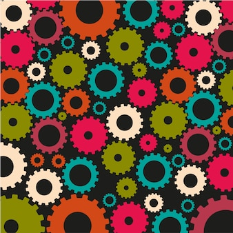 Gear silhouettes pattern of dark colors on black background