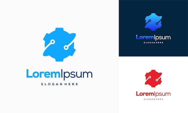 ギアテックロゴデザインコンセプトベクトル、テクノギアロゴメカニックシンボル