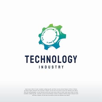 Логотип gear tech проектирует вектор концепции, символ механика логотип techno gear