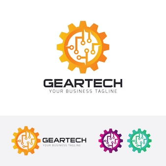 Gear tech vector logo template