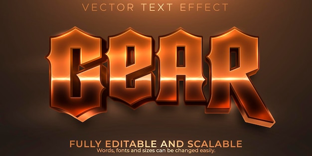 Gear text effect, editable metallic and old text style