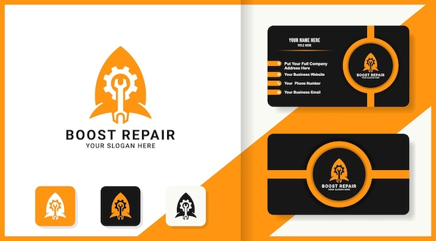 Gear tool rocket combination logo and business card design