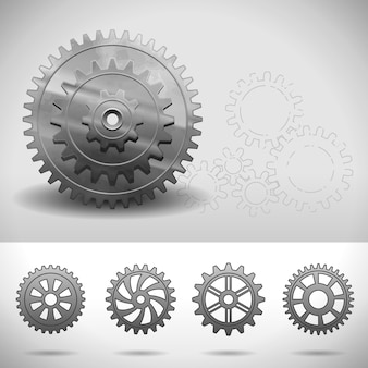 Зубчатые колеса, зубчатые колеса с разным количеством зубьев