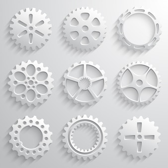 Gear wheels icon set