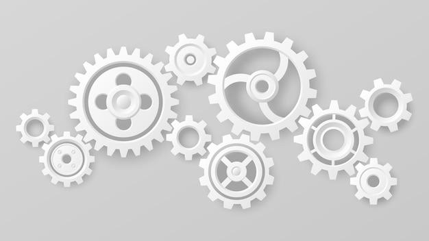 기어 휠. 현실적인 3d 흰색 톱니와 기어 메커니즘입니다. 팀워크 협력 기계 상징. 엔지니어링 및 기술 벡터입니다. 협력과 연결, 기술장비