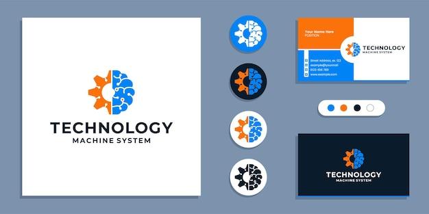 脳の技術のロゴと名刺のデザインテンプレートを備えたギア