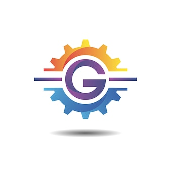 Gear with letter g gradient logo