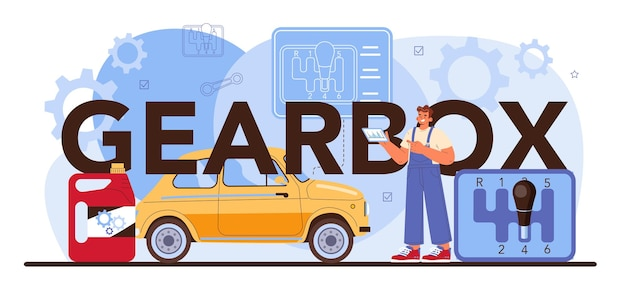 Gearbox typographic header. car repair service. automobile gearbox got fixed in car workshop. mechanic in uniform check a vehicles automatic or manual gearbox. flat vector illustration.