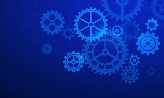 기어 배경입니다. 톱니와 바퀴 시스템이 있는 추상 파란색 미래 그래픽. 디지털 it와 엔지니어링. 미래 기술 벡터 개념입니다. 그림 전송 강철 톱니 바퀴