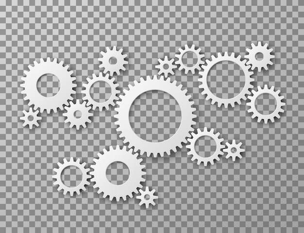 Gears background. cogwheels gearing isolated on transparent background. machine components industrial and engineering