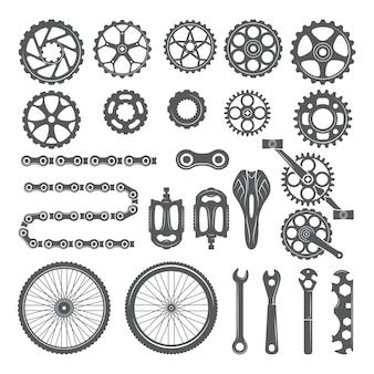 ギア、チェーン、ホイール、その他の自転車のさまざまな部品。自転車のペダルとサイクルバイクの要素