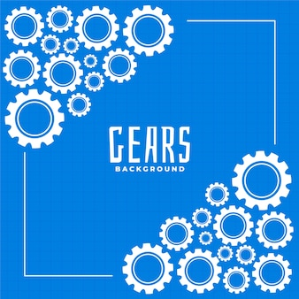Gears and cog on blue print background design