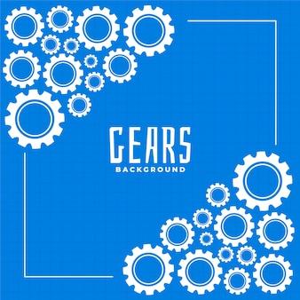 Ingranaggi e ingranaggio su sfondo blu stampa design