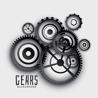 Gears and cog wheels in 3d style background Free Vector
