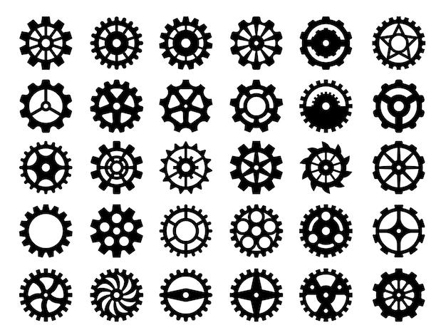 ギアコレクション。分離された機械産業修理部品丸歯車ベクトルコレクション用の抽象的な機械式ホイール。歯車と歯車の機械、工場産業アイコンの図