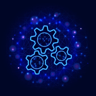 Gears design. low poly wireframe three gear, abstract background. mechanical machine engineering