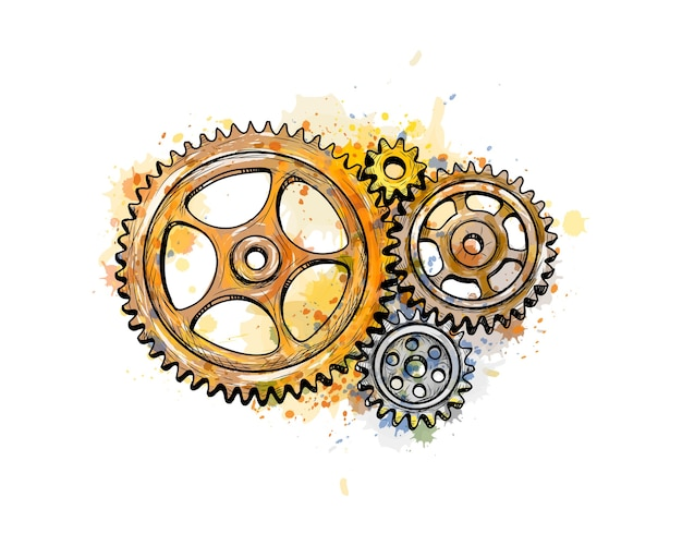 Gears from a splash of watercolor, hand drawn sketch.  illustration of paints