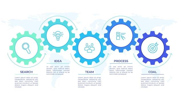 기어 인포 그래픽. cogwheels 전송은 기계, 엔지니어링 기술 진행 비즈니스 프레젠테이션 시작 벡터 개념을 연결합니다. 톱니 바퀴 연결 배너, 기어 인포 그래픽 그림