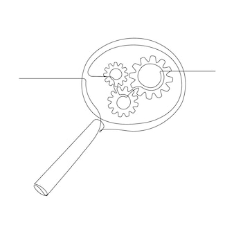 Gears inside magnifying glass in continuous line drawing. concept of business analysis and engine optimization in outline style. used for logo, emblem, web banner, presentation. vector illustration