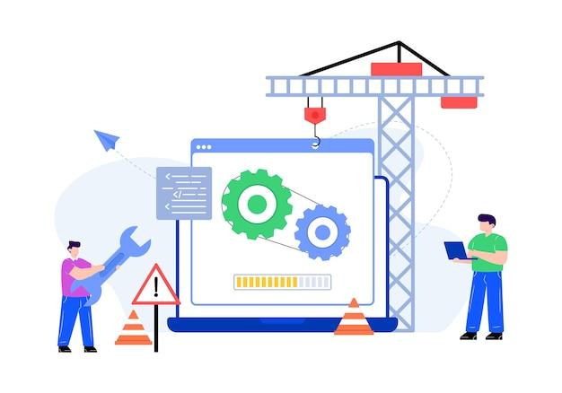 Шестерни внутри экрана, обозначающие плоскую иллюстрацию обслуживания системы
