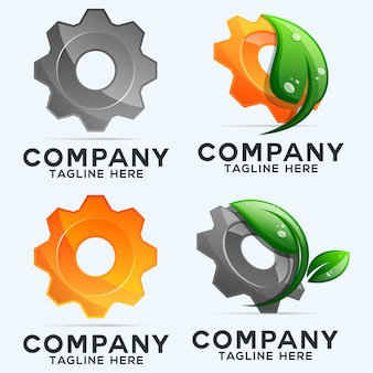 Gears and leaves logo collection