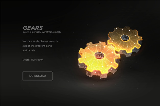 Gears низкий поли каркас