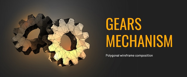 Gears mechanism in polygonal wireframe style