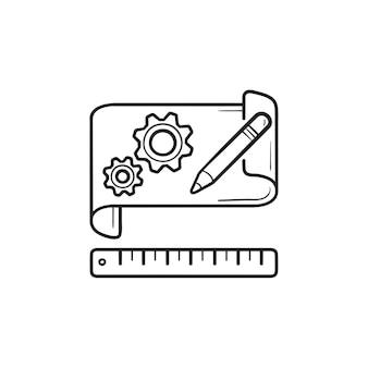 Шестерни на бумаге прототипирования рисованной наброски каракули значок. создание прототипов программного обеспечения, концепция модели продукта. векторная иллюстрация эскиз для печати, интернета, мобильных устройств и инфографики на белом фоне.