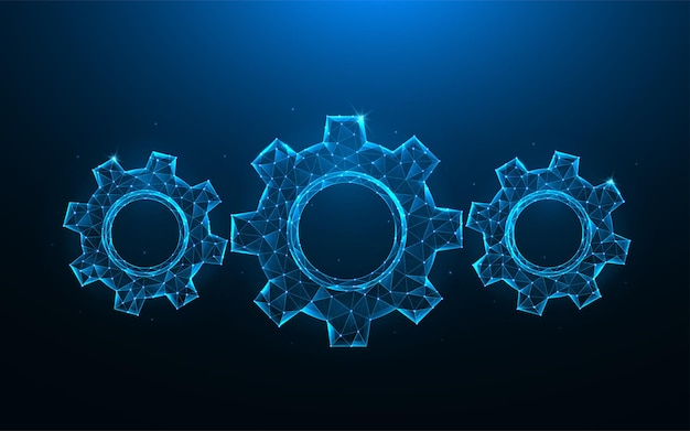 Шестерни или зубчатое колесо low poly art. полигональные иллюстрации механизма на синем фоне.