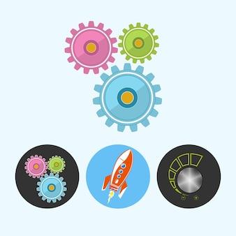 Шестерни. набор из 3 круглых красочных значков, шестерен, ракеты, регулятора громкости, значка управления мощностью, векторные иллюстрации