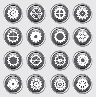 Gears silhouette over buttons background vector illustration
