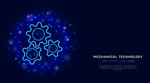 Gears. vector wireframe gear. mechanical engineering technology.