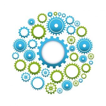 Дизайн gears на белом фоне векторные иллюстрации