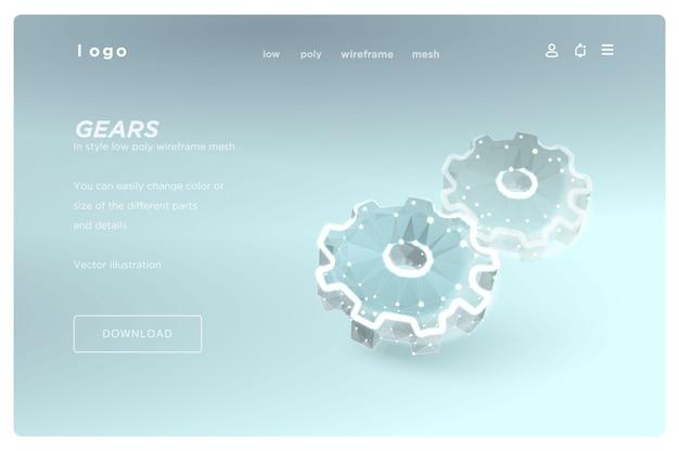 Gears низкополигональная каркас искусства на синем фоне