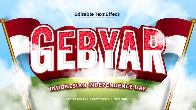 Эффект жирного текста gebyar - означает празднование дня независимости индонезии Бесплатные векторы