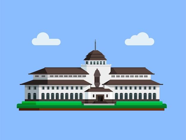 Gedungサテはフラットなイラストでバンドン西ジャワインドネシアコンセプトから有名な建物のランドマークです。