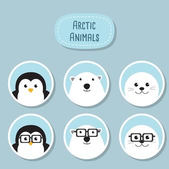 Набор значков. симпатичный пингвин, белый медведь и тюлень с забавными ботаниками. персонажи животных geek hipster.