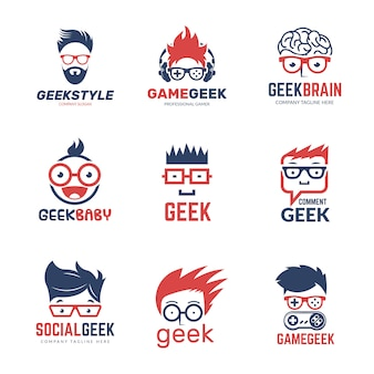 Geek logo. business identity of smart programmers thinking nerd computer education vector design template