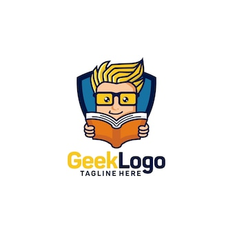 Geek logo design template vector