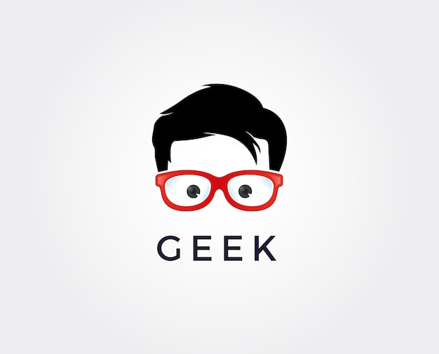 Geek logo design template with face in glasses.