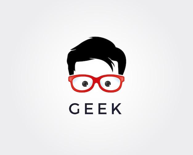 안경에 얼굴을 가진 괴짜 로고 디자인 템플릿입니다.