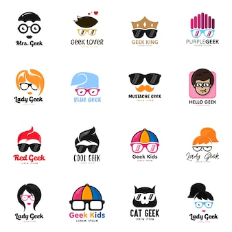 Geek logo set