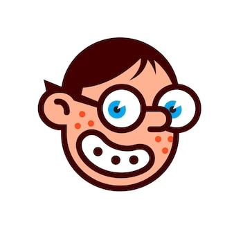 안경을 쓴 괴짜 괴짜 로고 브랜드 캐릭터의 머리