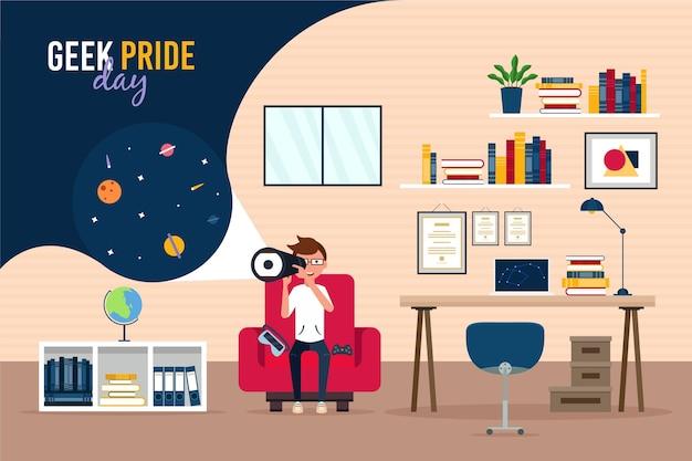 Geek pride day boy looking through a telescope
