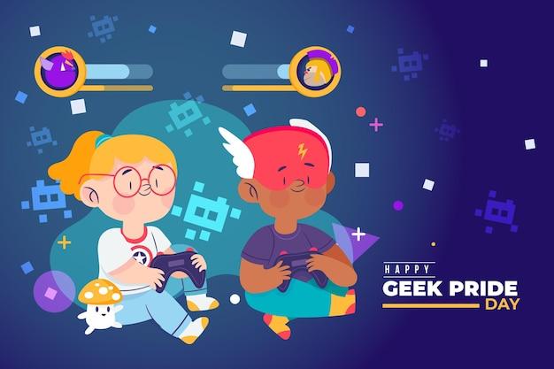 Geek гордость день девочка и мальчик играет